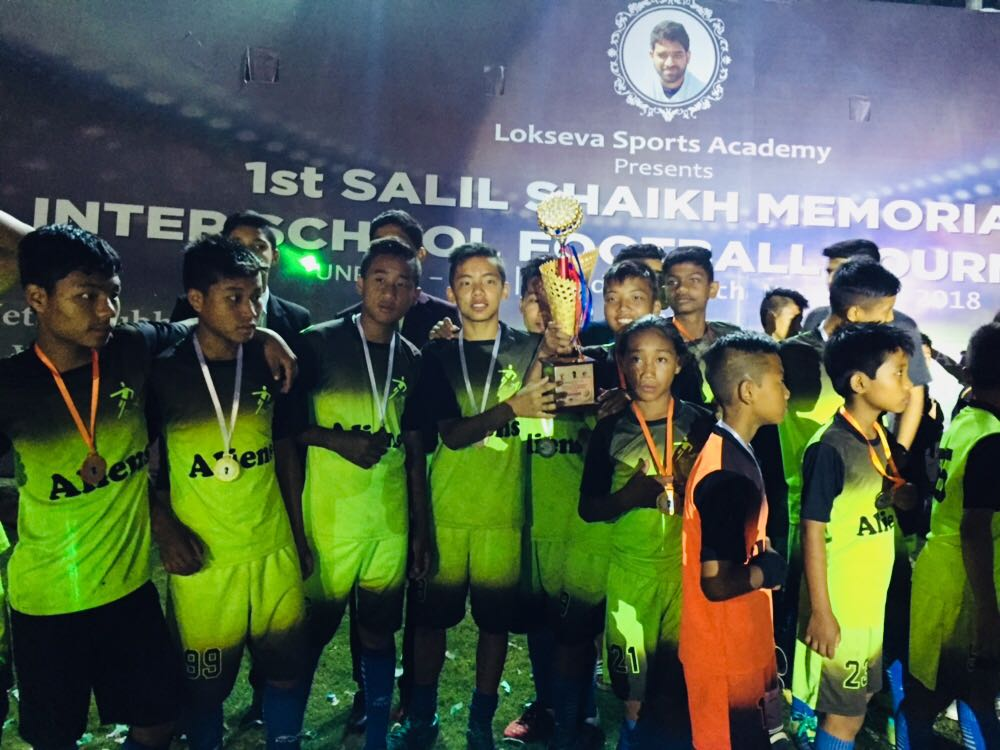 Netaji Subhash Chandra Bose Military School, Pune won the final match of 'Salil Shaikh Memorial Football Tournament U-14' organized by Lokseva Sports Academy. All the 13 boys in the team were from Ishwarpuram.